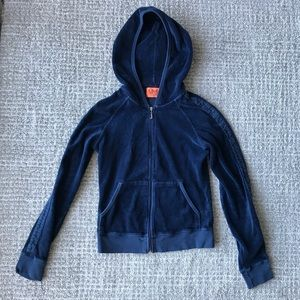 Navy Blue Velour Juicy Couture Track Jacket, Small